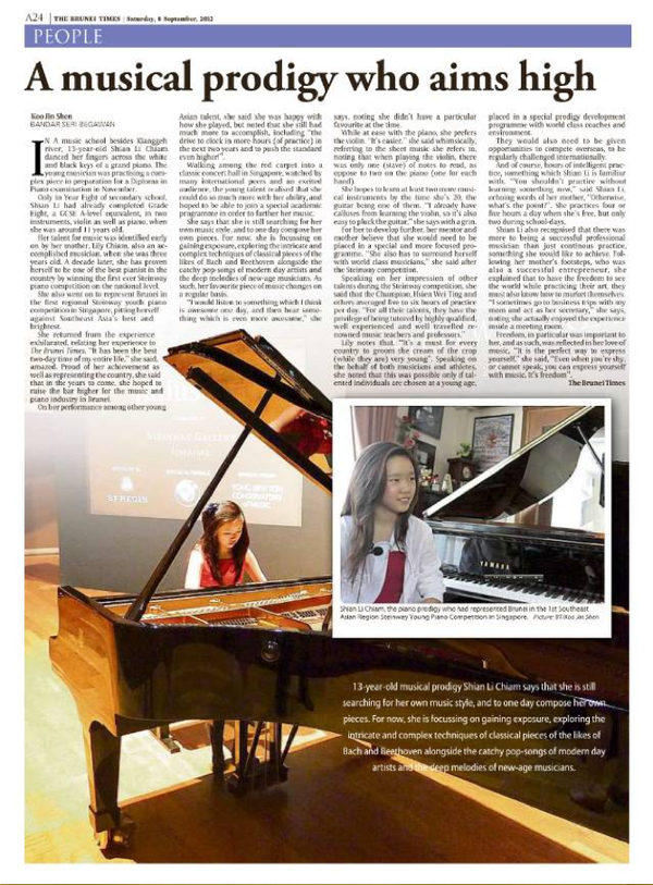 A musical prodigy who aims high - The Brunei Times